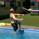 Adam falling into the pool